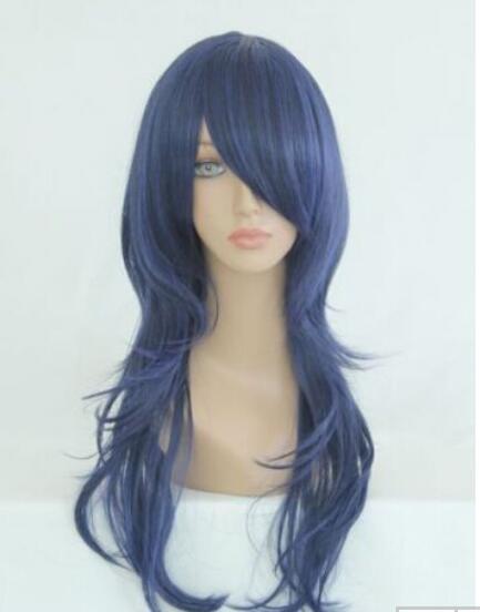 무료 배송 + + 새로운 보그 섹시한 여성 긴 검은 색 파란색 코스프레 파티 곱슬 가발 패션 숙녀의 가발