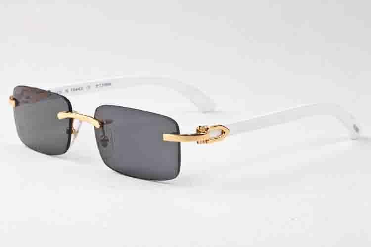2019 بيضاء نظارات قرن الجاموس رجالي خمر الرجعية النظارات الشمسية خشبية للمرأة أسود اللون البني العدسات واضحة الموضة بدون شفة النظارات الشمسية الرياضية