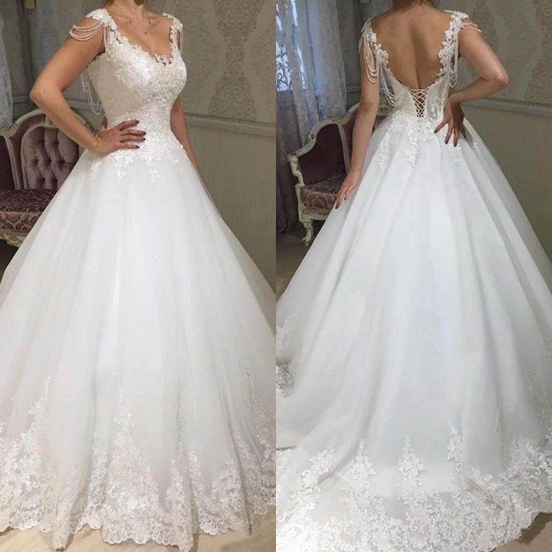 2019 Plus Size Pizzo Appliques A Line Abiti da sposa con scollo a V Lace Up Back Bridal Gowns Personalizzato