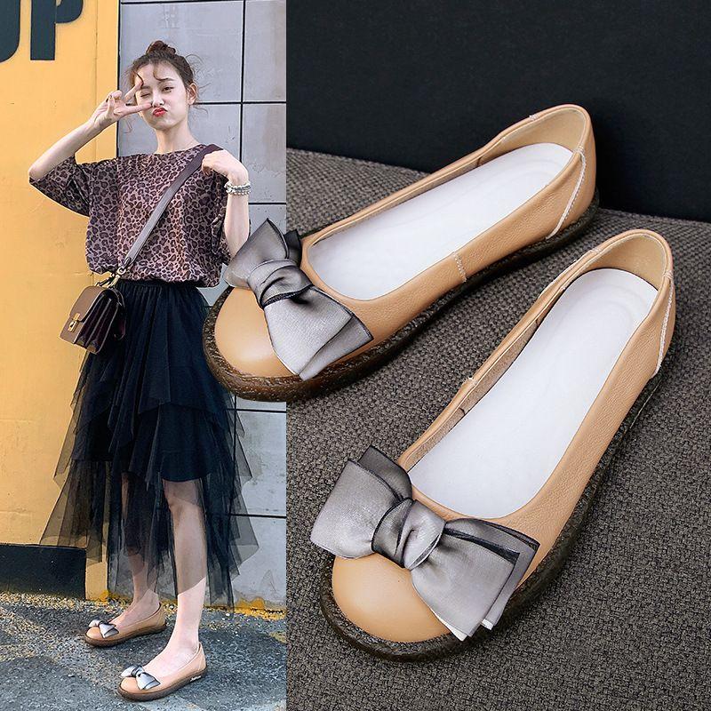 Crystal2019 소 가죽 레이어 헤드 요정 아사 쿠치 신발 정품 가죽 환기 작은 단일 부드러운 단독 신발