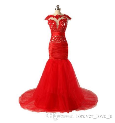 Vermelho maduro Sexy frisado BeiJing moda vestido de noite made in China Alta qualidade DuBai Trumpet sereia vestidos vestido de noite para mulheres