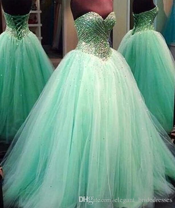 Gorgeous 2019 Prom Dresses Sequins Beads Ball Gown Sage Pageant Dresses Lace Up Sweetheart Neck Floor Length Tulle Gowns