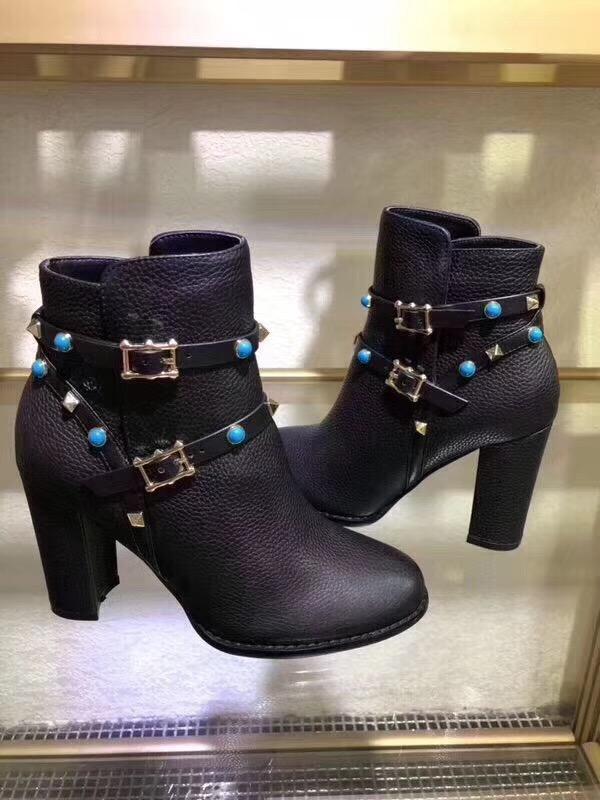 9.5cm de alto tacón alto zapatos de lona casual de lujo de alta calidad de cuero de gamuza del remache de las mujeres de moda Martin botas botas de los zapatos Valen moto