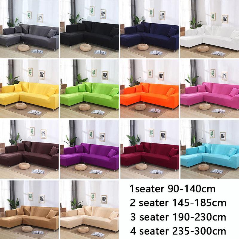 2 unids conjunto de fundas de sofá de color sólido Sofá cubierta de sofá elástico esquina cubre para sala de estar estiramiento L en forma de chaise longue funda