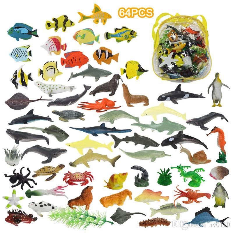 64 pcs mini animais marinhos modelo brinquedos crianças ciência educação simulação organismos marinhos definir presentes para crianças