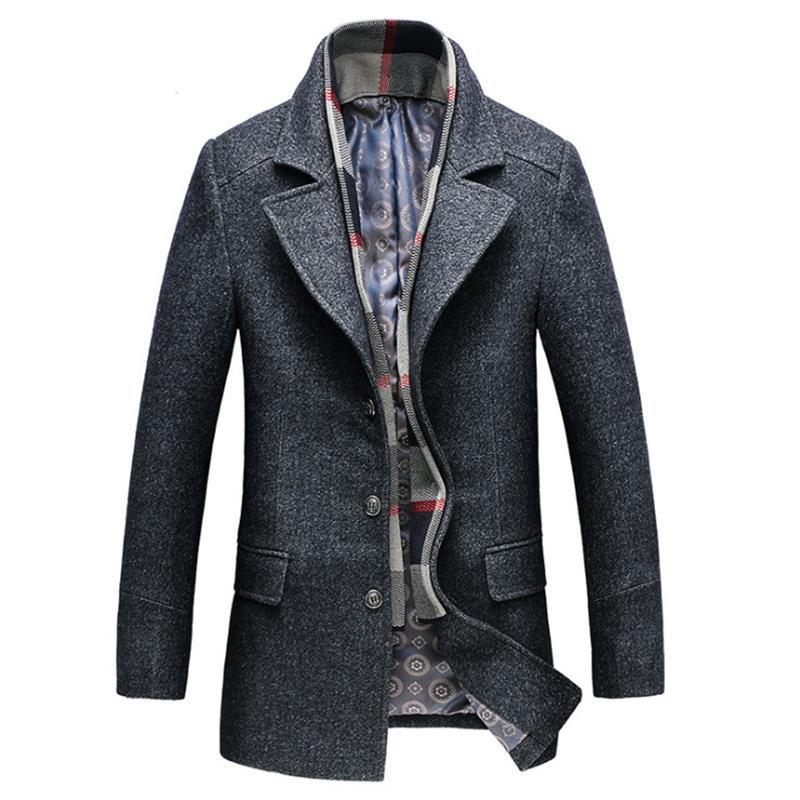 Kış Trençkot Erkekler Kalın Yün Karışımları Ceket Ayrılabilir Eşarp Casual Erkek Yün Coat Grey Uzun Erkek