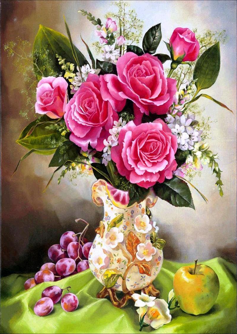 Home Decor fai da te 5D diamante Pittura Schemi punto croce Rosa Vaso Mosaico diamante ricamo per cucire strass Gifts