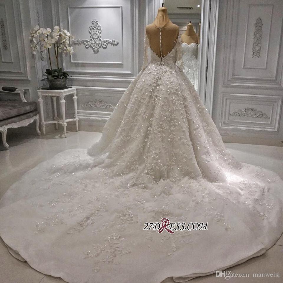 Luxus Spitze Ballkleid Brautkleider Langarm Brautkleider Sweep Zug Applizierte Perlen Nach Maß Plus Size Hochzeitskleid