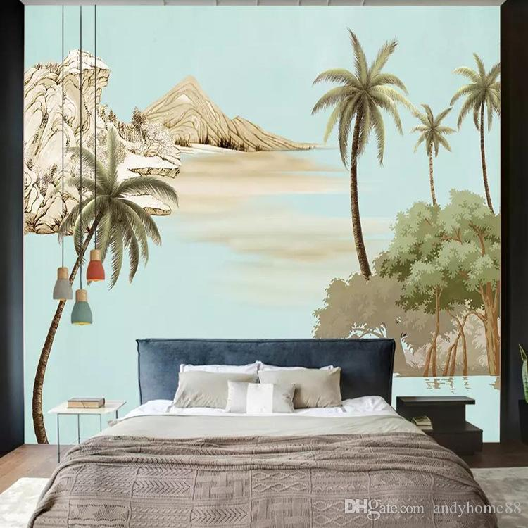 3d Hand Painted European Oil Painting Art Wallpaper Living Room Tv Background Wall Custom Mural Palm Tree Wallpaper For Desktop Wallpaper For Desktop