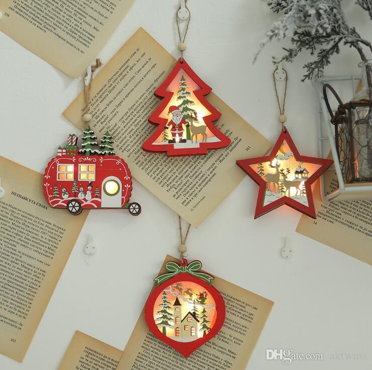 Christmas Tree Decorations Hollow Wooden Pendant Xmas Creative With Lights Car Tree Ornaments Christmas Gift Fairy Lights LXL637-1