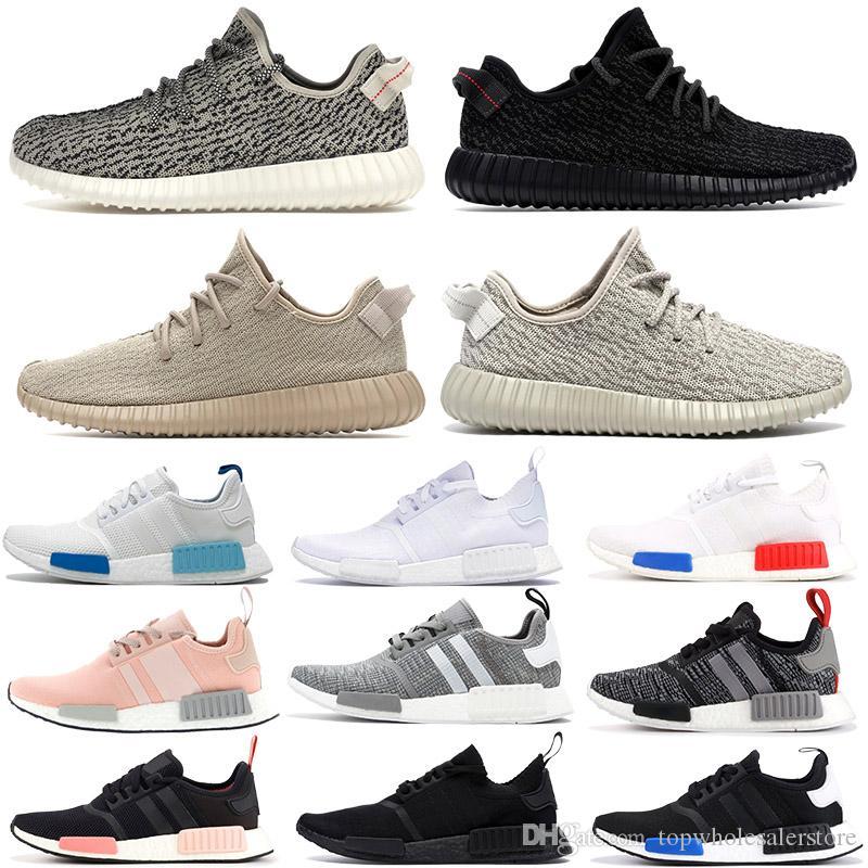2020 para mujer para hombre de los zapatos corrientes de las encías NMD R1 Primek Oreo Triple negro negro Kanye V1 paloma de la tortuga Oxford bronceado estilista de las zapatillas de deporte 36-46
