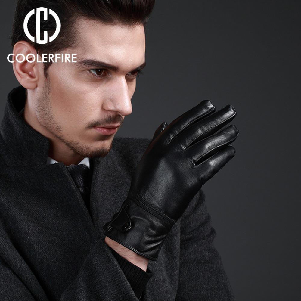 Men Fashion Gloves Genuine Leather Sheepskin Black Full Finger Warm Hands Winter