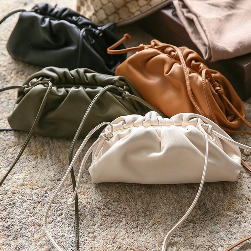 Laimall 38cm Büyük Deri Çanta Çanta Kadınlar Yumuşak Yüksek Kalite Moda Debriyaj Çanta Lady Büyük Dantelli Bulut Omuz Çantası