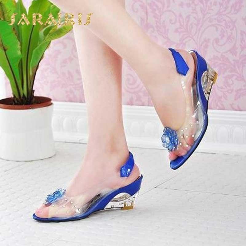 SaraIris de gran tamaño 30-43 Moda Flor Cristal Verano cuña de los tacones altos de los zapatos ocasionales de la jalea mujer de los zapatos de las sandalias de las mujeres