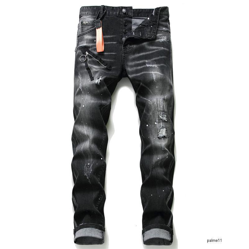 mens designer jeans black luxury ripped skinny biker moto pants pour cool hommes men s hip hop denim rock new arrival