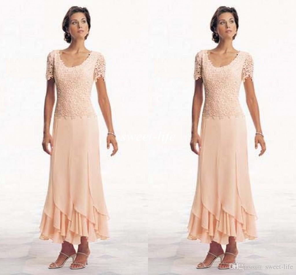 Modern 2015 Artı Boyutu anne Gelin Elbiseler Kısa Kollu Scoop Şifon A-Line Çay Boyu Turuncu Custom Made Abiye giyim Örgün Elbise
