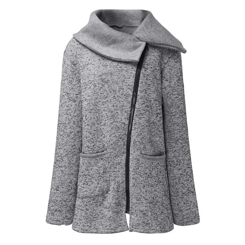Wholesale-Winter Coat Women 2019 Wool Warm Coat Plus Velvet Sweater Side Zip Plus Size Long Korean Grey Jacket Thick Slim