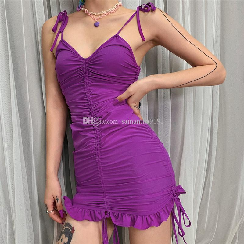 Kadın Yaz Elbise Seksi Mor Spagetti Kayışı V Boyun Mini Kılıf Elbise Lady İnce İpli Dantel Up Ruffles Elbiseler