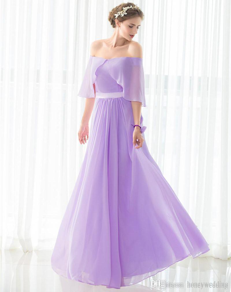 großhandel elegantes helllila brautjungfernkleider lange unter 50  schulterfrei drapiert chiffon hochzeitsgast kleid auf lager günstige  brautjungfern