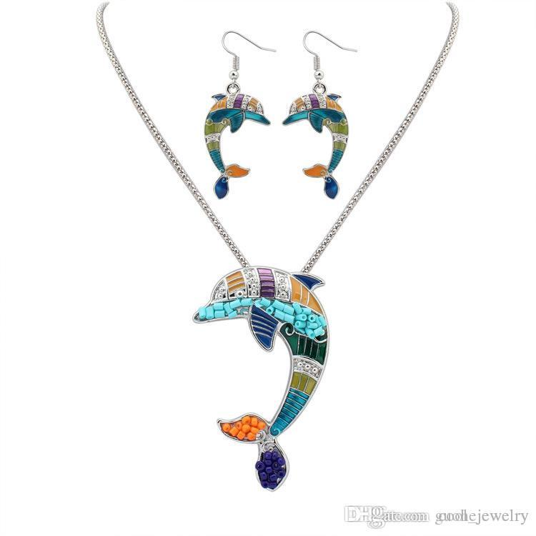 New women necklace and earring set Enamel Horse Elephant starfish Pendants Jewelry Sets Silver plated Jewelry Gift