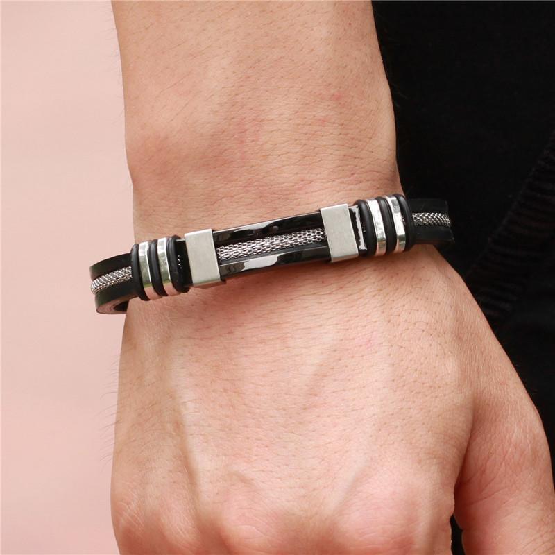 Hot Stainless Steel 4 Colors Mens Leather Bracelets Silicone Fashion Charm Designer Bangle Rope Bracelets