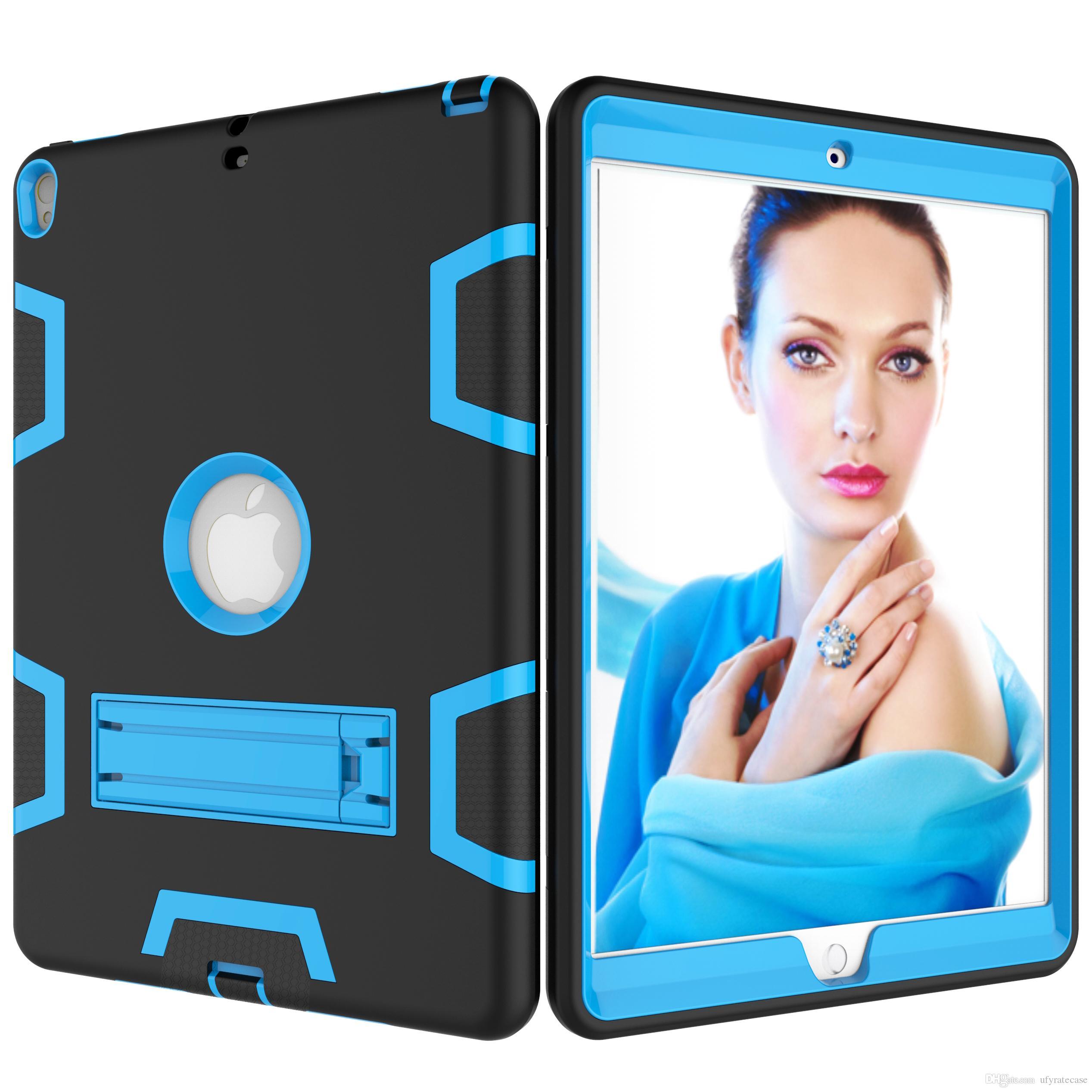 3in1 الهجين سيليكون كامل الجسم واقية القضية لباد برو 10.5 9.7 باد 9.7 2018 الهواء 2 iPad4 3 بادميني