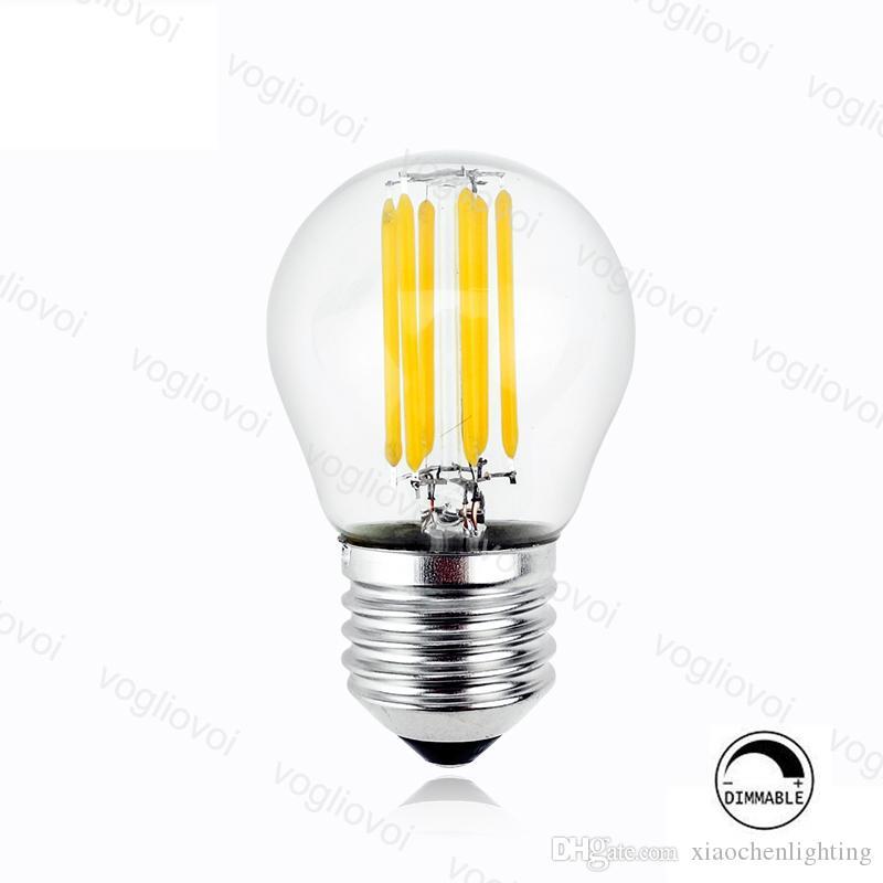Dimmable 110V / 220V LED Lâmpadas G45 Filament Candle Lâmpada 2W 4W 6W E14 E27 para Crystal Chandeliers Luzes da mesa do pingente DHL