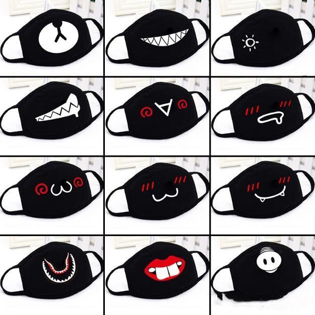 Anime Cute Bear Party Face Mask Adult Kids Fun Lower Half Face Mouth Muffle Mask Reusable Dust Warm Windproof Cotton Mask Black White