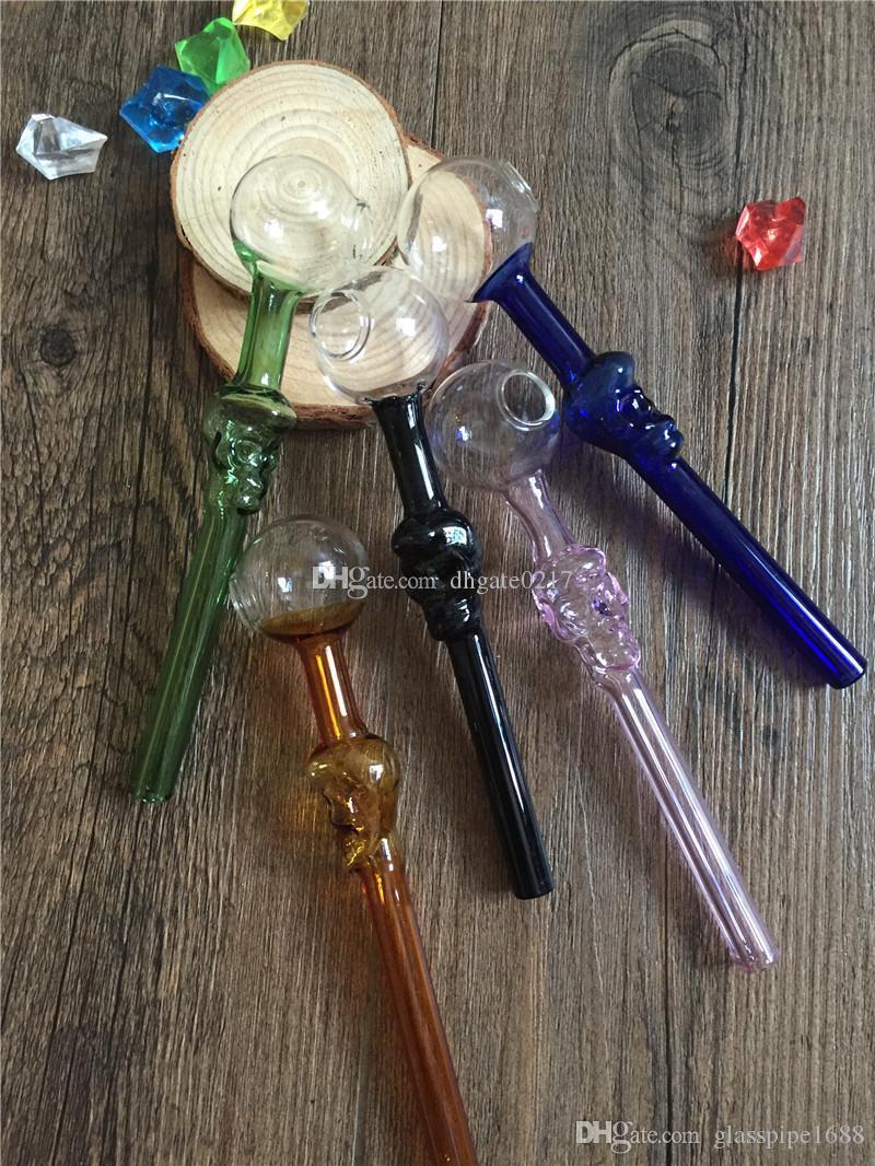 Ручной Сгорел Ресайклер цветное стекло трубы Череп Курение ручки Трубы изогнутый 12см 30мм мяч курительные трубки Лучший курительного череп масляная горелка