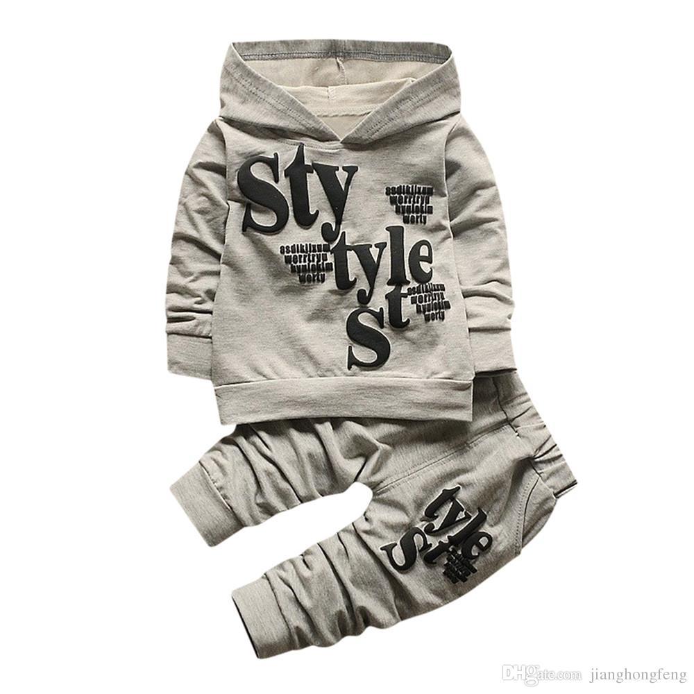 Mode bébé garçon vêtements ensemble 2 PCS Lettre Imprimer Top Vêtements + Long Pantalon Vêtements d'hiver pour bébé garçons vêtements