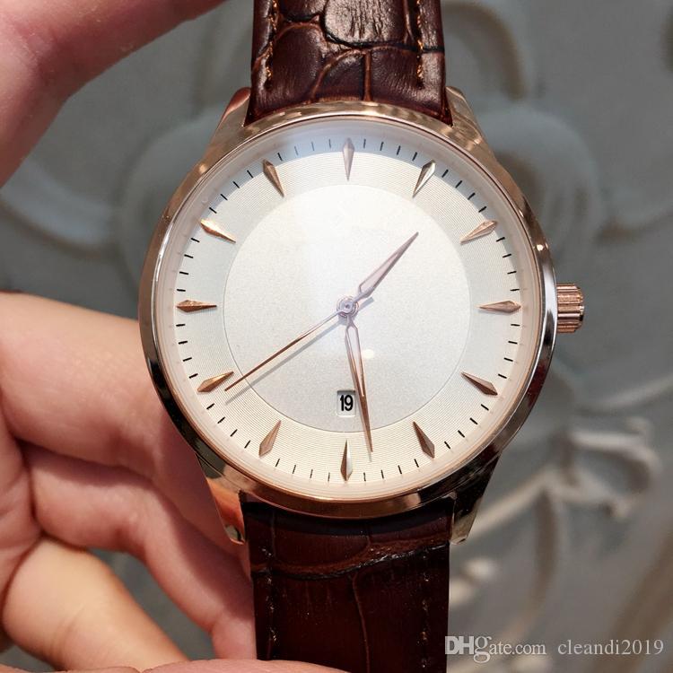 2019 Nueva moda hombre / mujer de cuero reloj de cuarzo reloj de pulsera de señora de lujo con fecha alta acero de acero negro / marrón hombre relojes