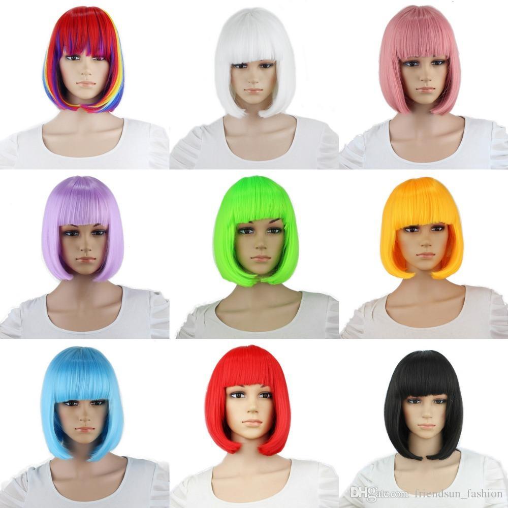 Anime Cosplay Perruques 28 couleurs Longue Ligne Droite Synthétique Perruques Cheveux Femmes Stade Cosplay Coloré Halloween Costume Cosplay Perruque Partie Perruque Vente Chaude