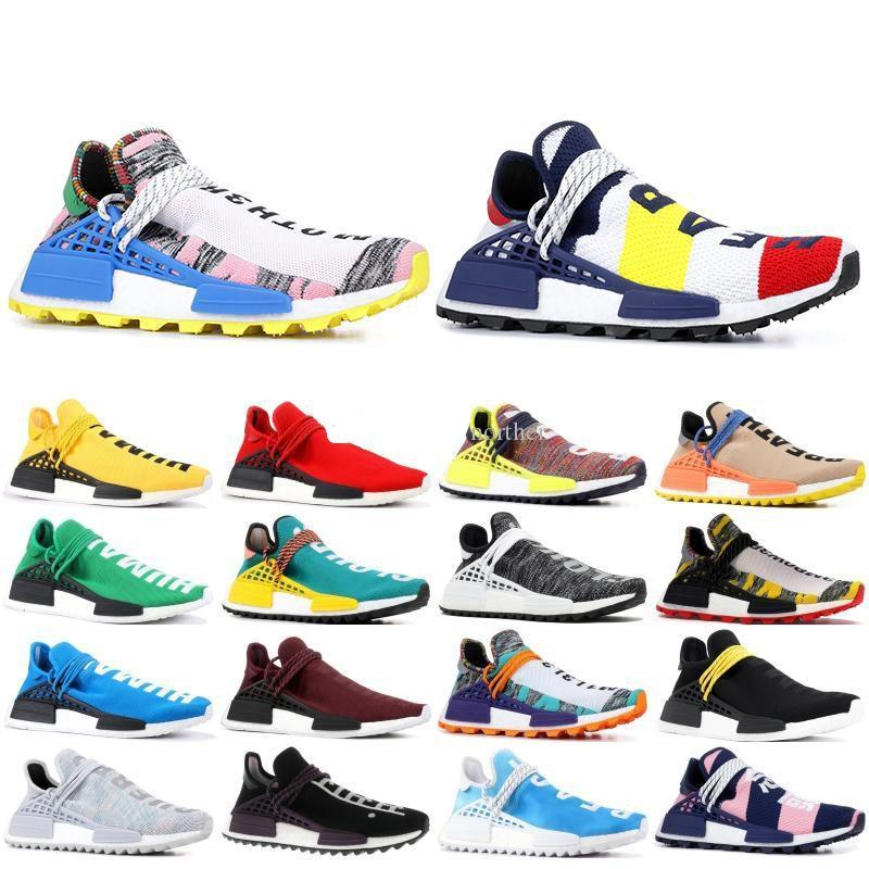 2019 Human Race Mens Running Shoes With Box Pharrell Williams Sample Yellow Core Black Sport Designer Shoes Women Sneakers 5-11