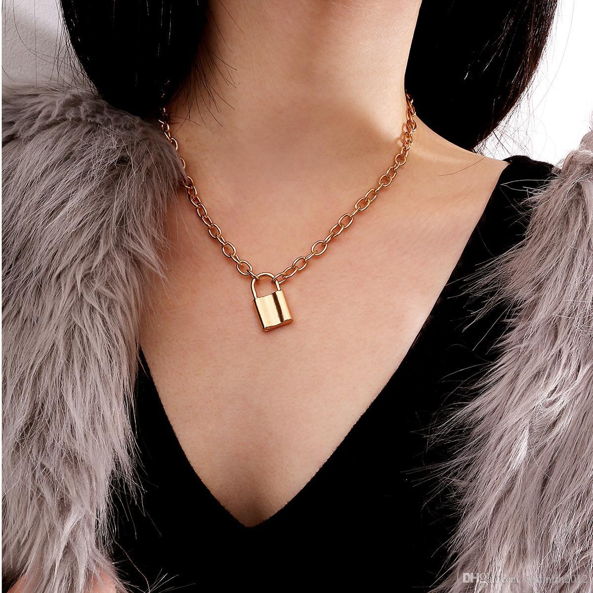 Rongho جديد إمرأة خمر المعادن قفل قلادة قلادة الذهب المختنق قلادة الهيب هوب فام قلادة سلسلة قلادة المجوهرات