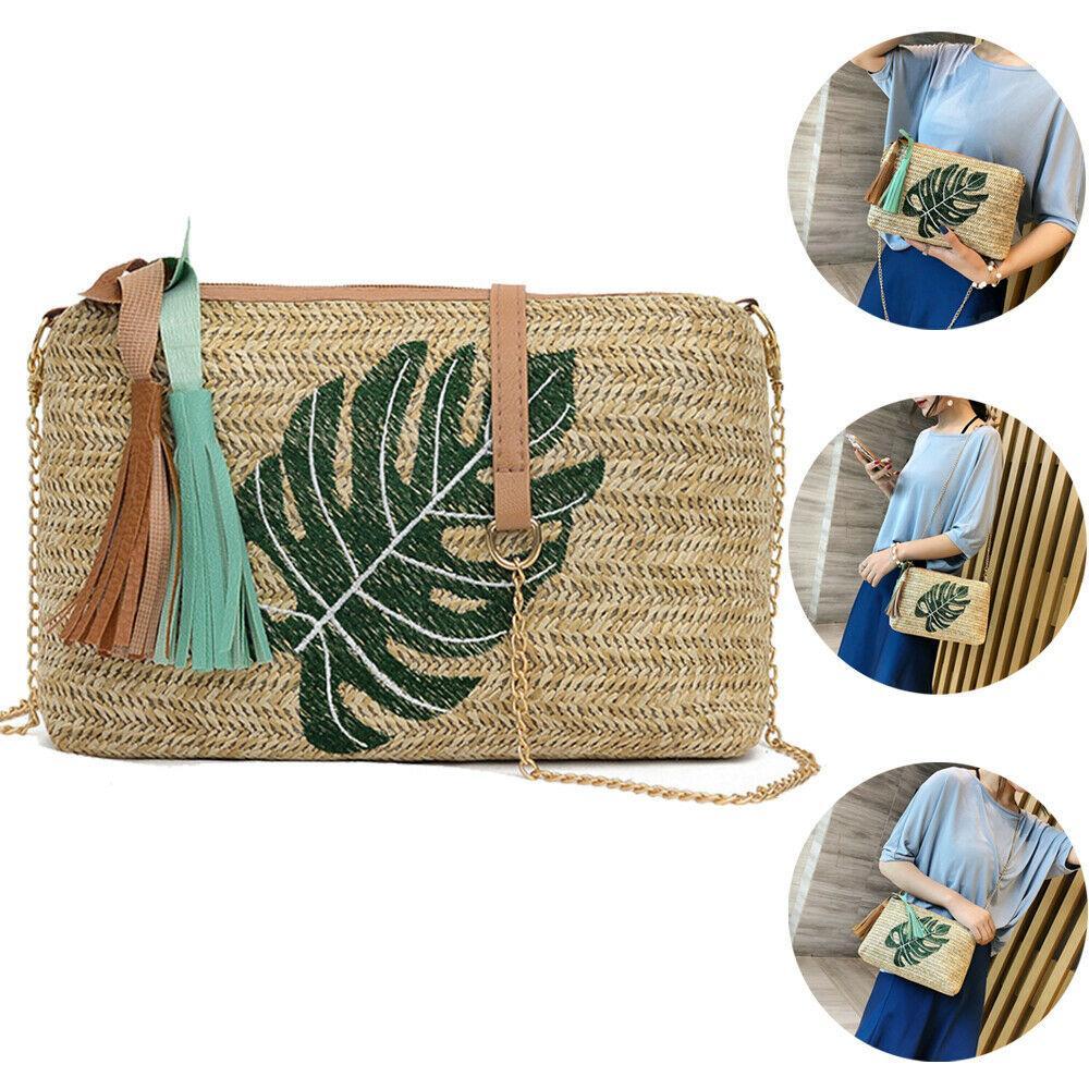 2019 Women Small Straw Shoulder Bags Leaves Pineapple Printing Zipper Handbags Summer Beach Bohemian Crossbody Bags
