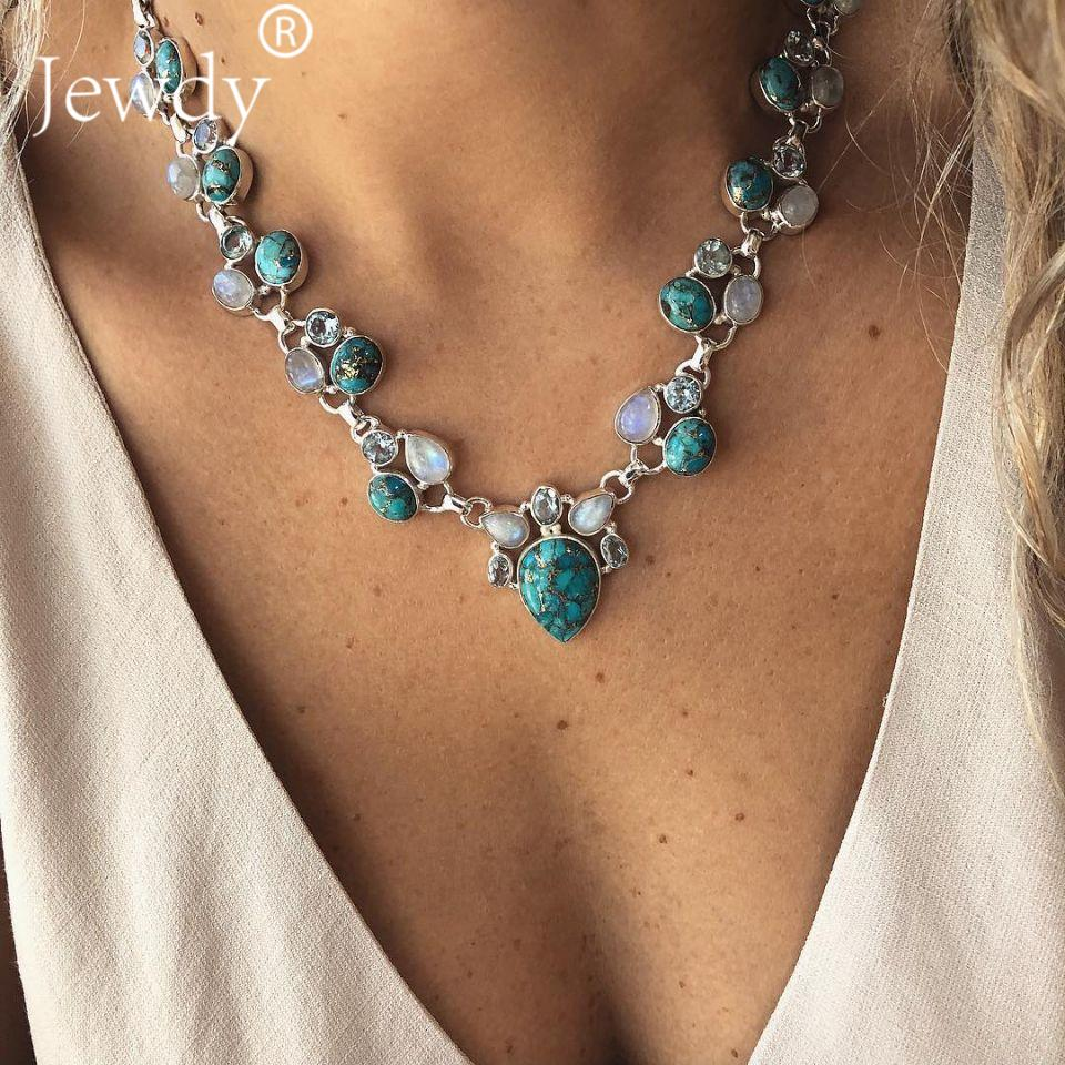2019 Trendy Fashion Women's Green Chunky Crystal Necklace Bohemian Style Coral Stone Pendant Choker Statement Necklace Jewelry