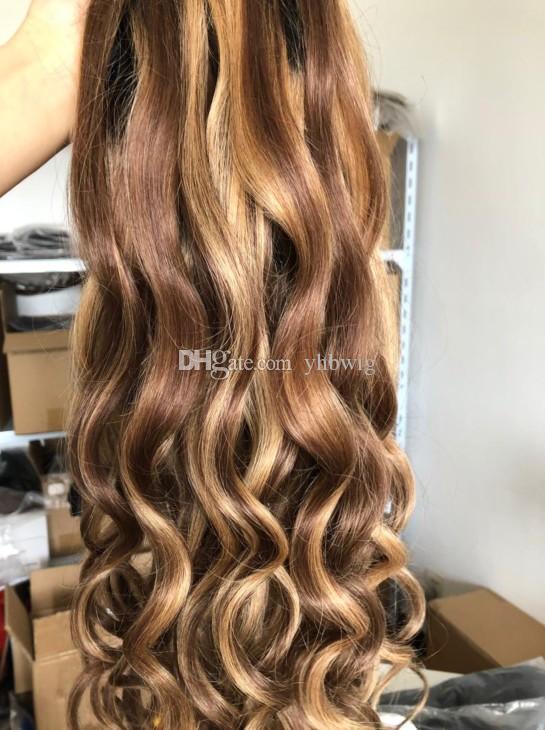 Celebrity peluca de encaje frontal de la peluca Ombre color de realce 10A virginal mongol pelucas llenas del cordón del pelo humano para las mujeres negras del envío libre rápido
