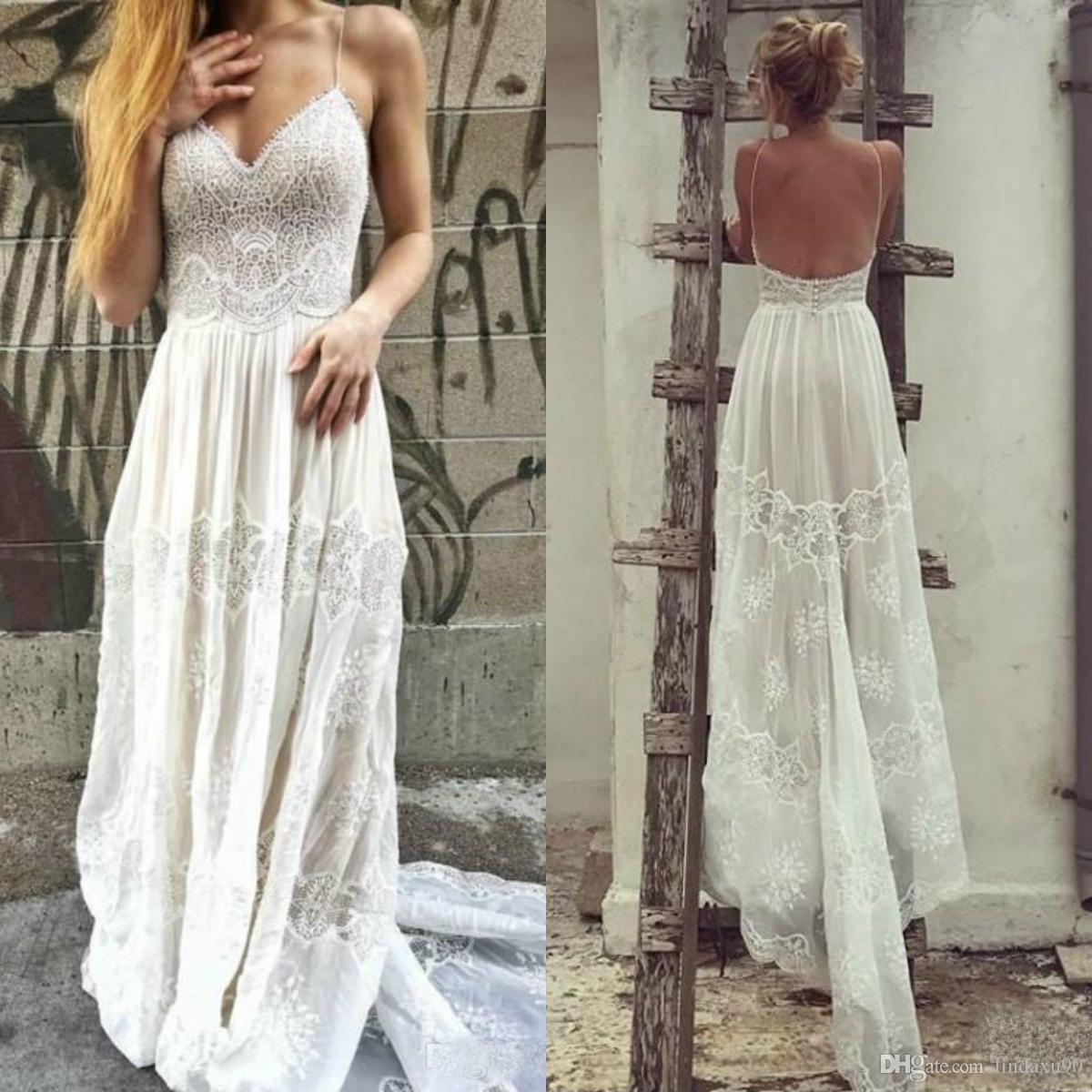 2019 Bohemian Lace Wedding Dresses A Line Sexy Spaghetti Neck Bridal Gowns Boho vestidos de novia Beach Wedding Dress