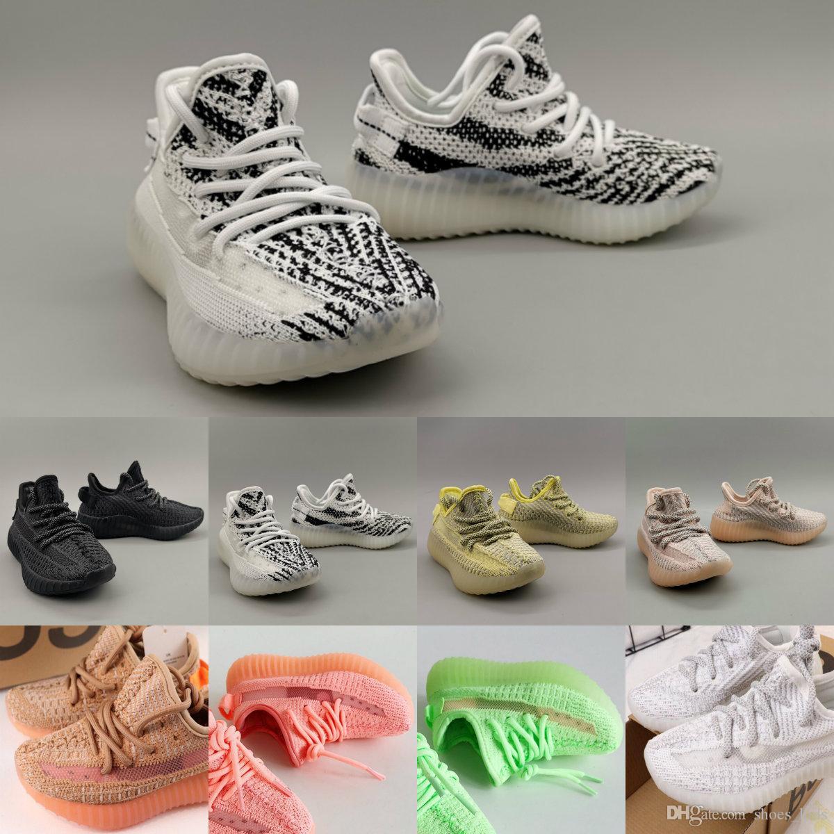 Enfants Chaussures de course Kanye V2 statique Zebra bébé blanc crème BÉLUGA enfants Sport Chaussures de sport Formateurs Garçon Fille Toddler enfant
