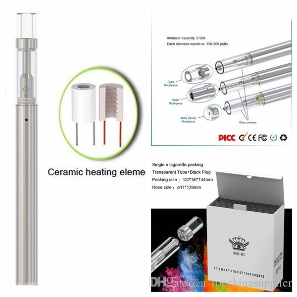 vaporizador desechable PENS E-cigarrillo Bud D1 310 mAh de la batería de Vape 0,5 ml Vacío carros diferentes orificios de aceite envasado cartucho de PVC tubo vaporizador