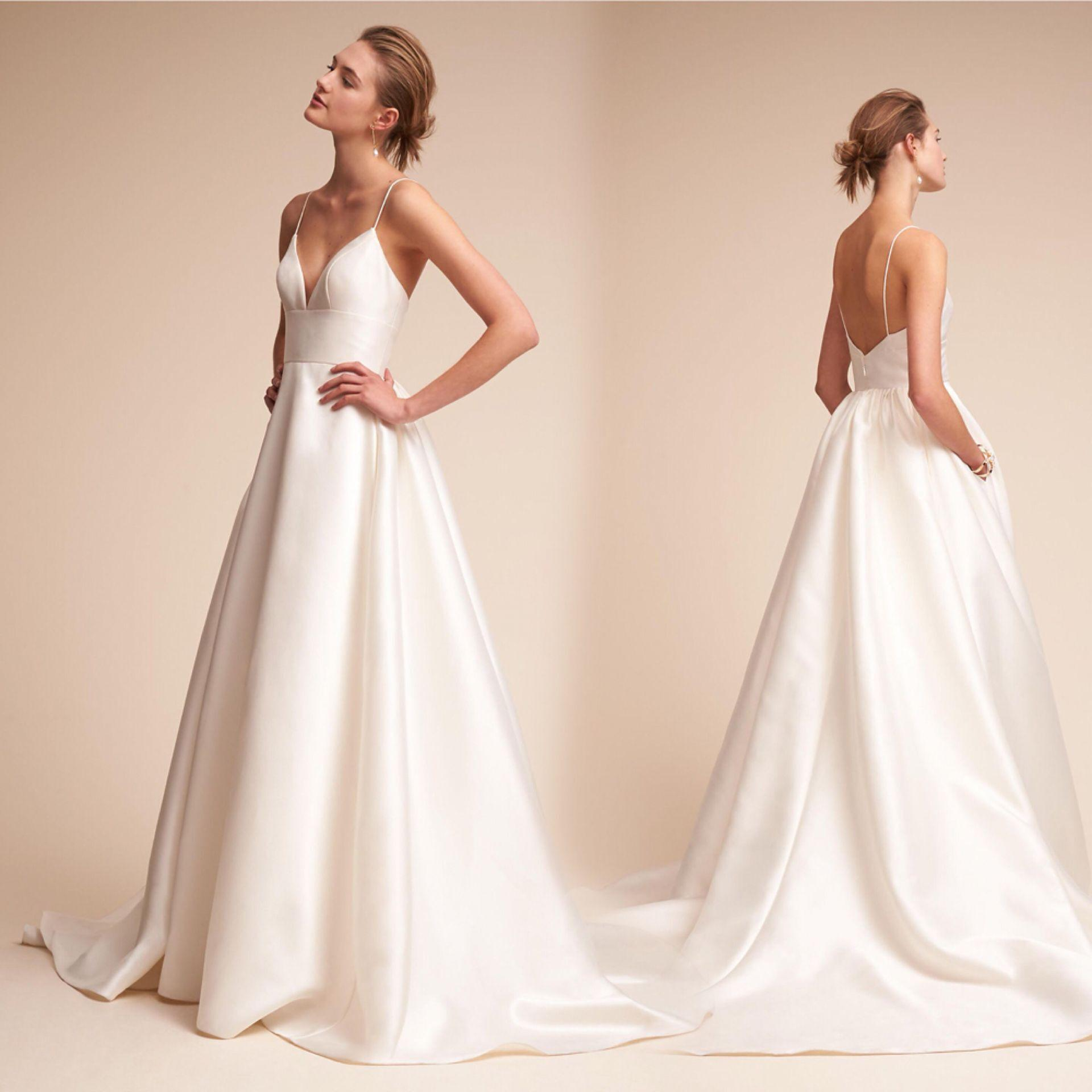 Discount New Fashion Simple Cheap A Line Wedding Dresses V Neck Satin Sweep Train Wedding Gowns Sexy Bridal Gowns Styles Of Wedding Dresses Vintage