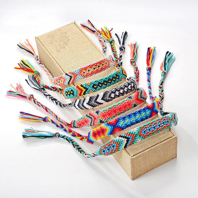 Bracelet tissé Tressé main rétro bohème Fil Bracelet Boho Multicolor cordes cordon Hippie Bracelets d'amitié