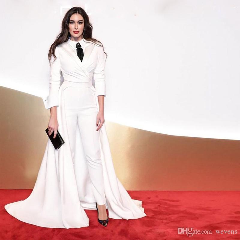 Modern White Jumpsuit Evening Dresses with Detachable Train Ankle Length Ruched Satin Pants Suits Celebrity Evening Gowns