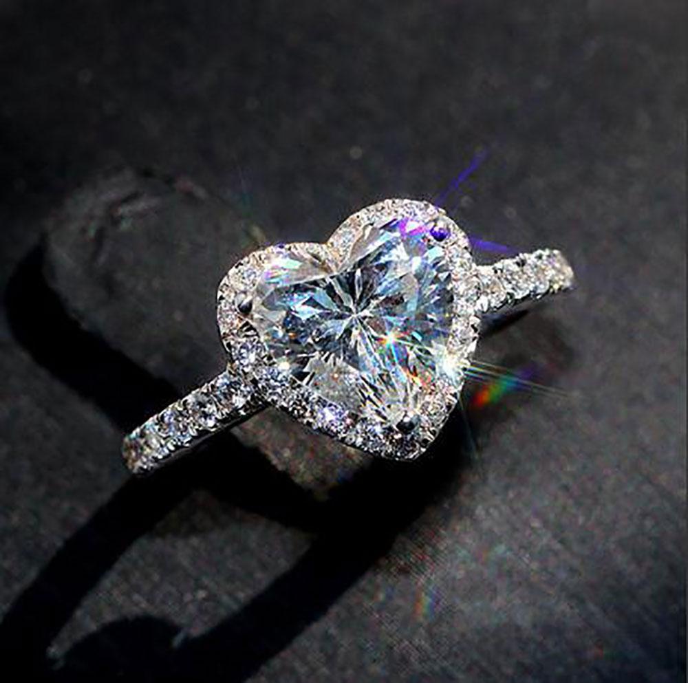 das mulheres para fora congelado coração de diamante Anel Praça diamante Anel Micro Pave Mossinaante 925 Hip hop ajustável anel Tamanho