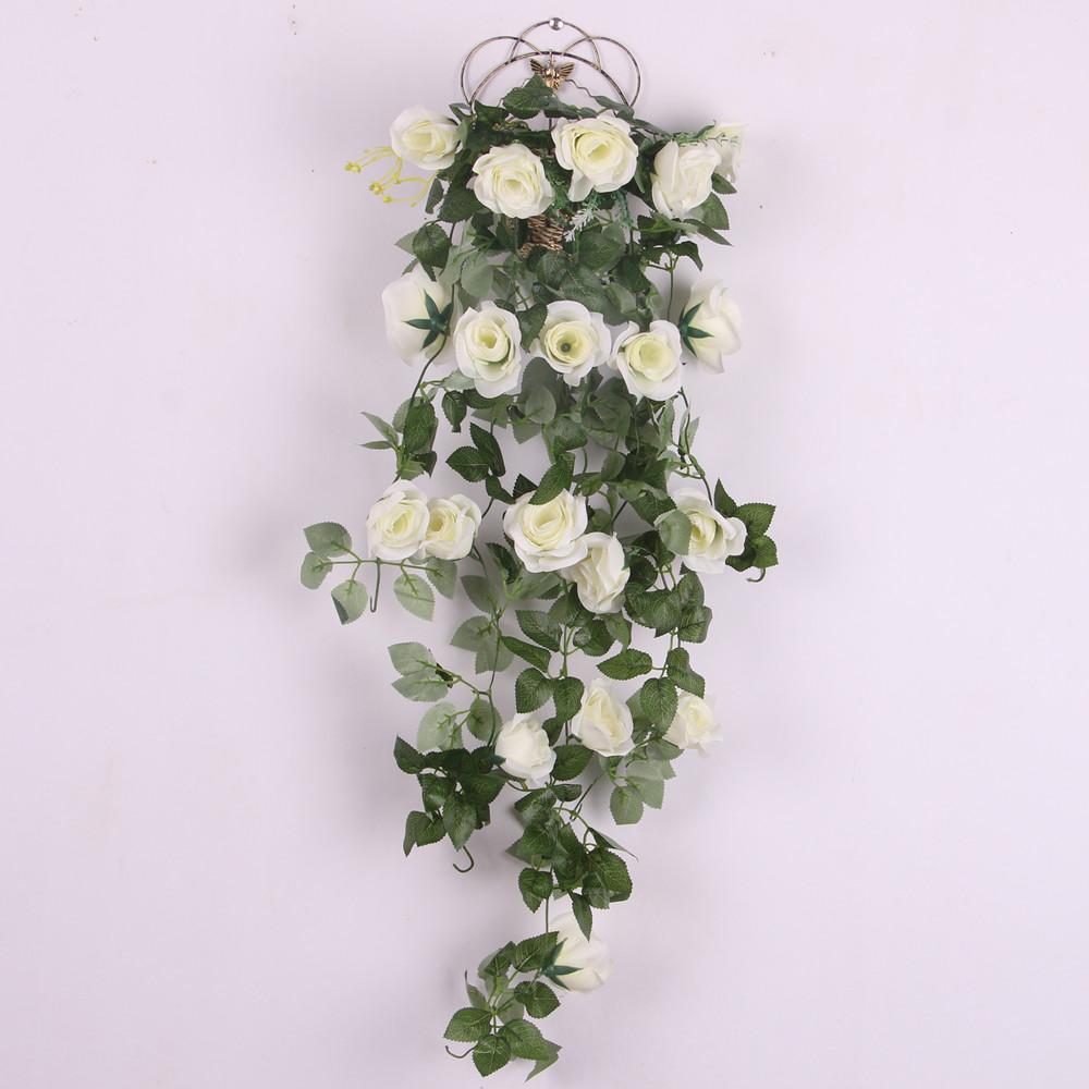 Rosa artificial flor de seda guirnalda Ivy Vine exterior colgante de interior decoración blanca