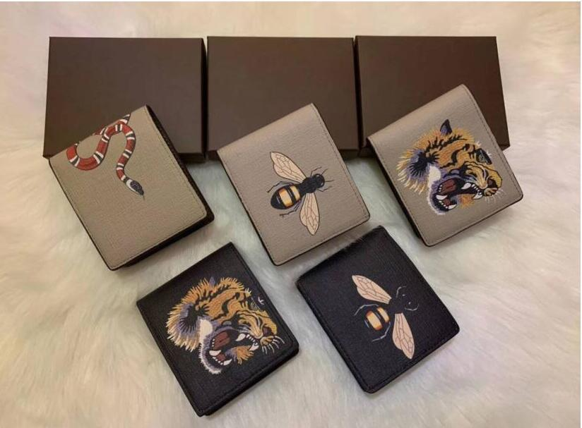 2020 끈적 거리는 품질 남성 디자이너 동물 짧은 지갑 가죽 검은 뱀 타이거 꿀벌 지갑 여성 긴 스타일 지갑 지갑 카드 홀더 새로운 스타일