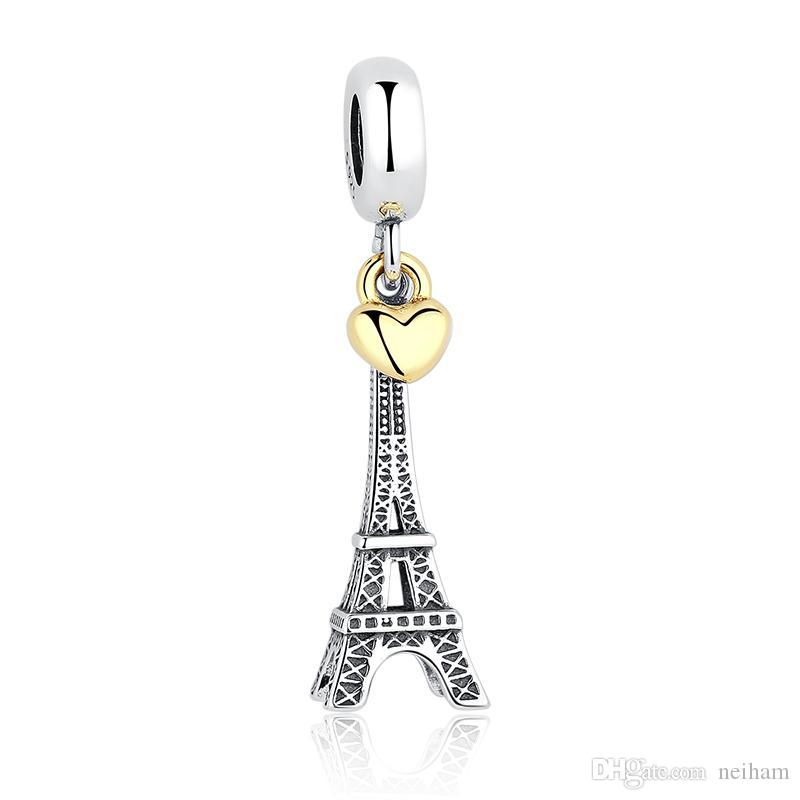 PARIS EIFFEL TOWER Charm Pendant Gold Heart Beads Fit Pandora Bracelets Necklaces