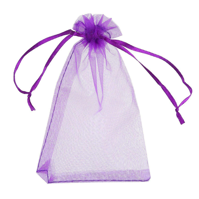 50 pièces 4 par 6 pouces sacs en organza cadeau sacs à bijoux de cordon sac de faveur de fête de mariage (multicolore)