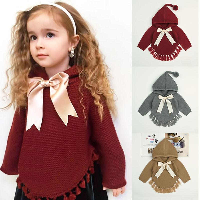 kids designer clothes girls Pullover children Bow Knit hoodie Spring Autumn winter sweater cloak fashion baby Clothing 3 colors C6850