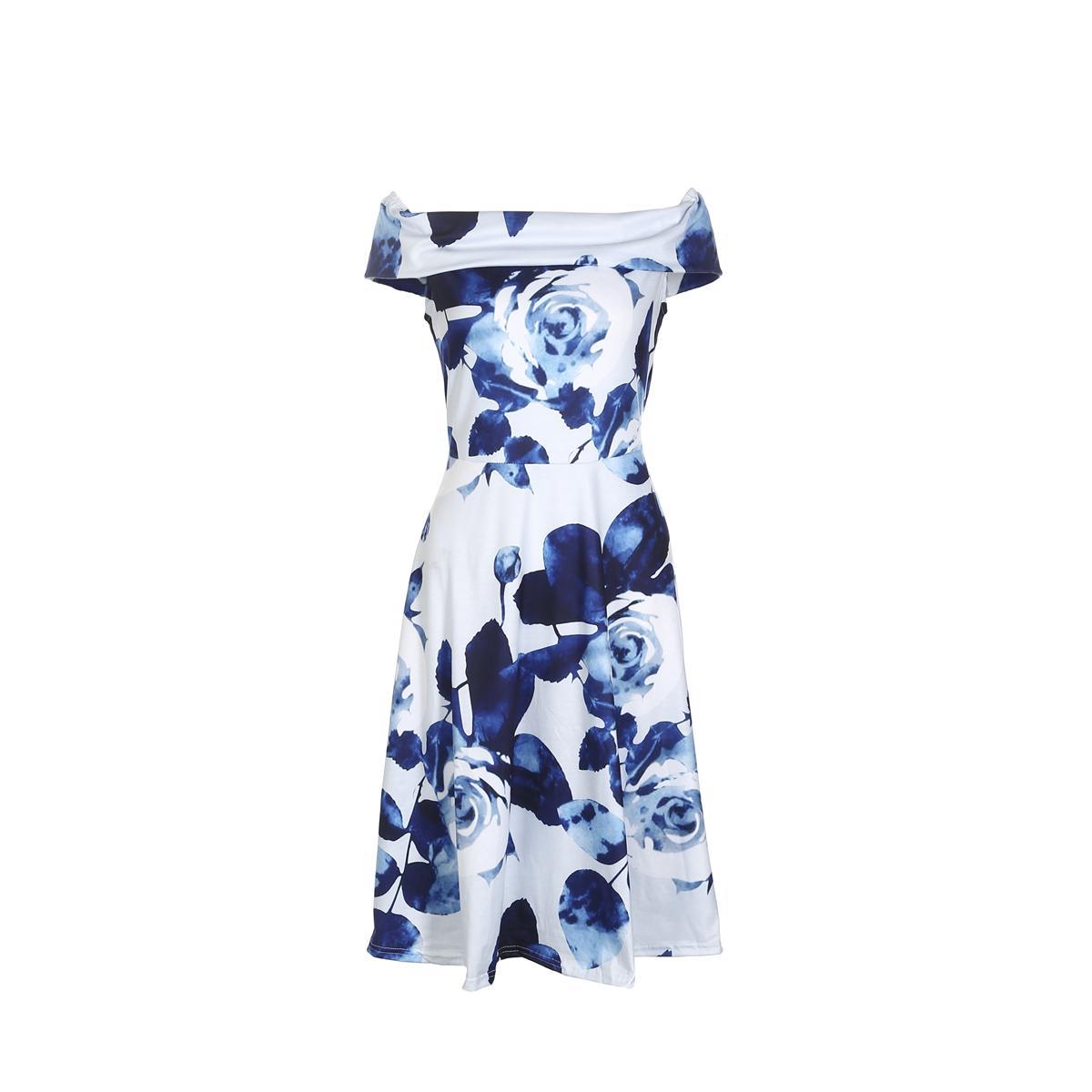 여성 짧은 소매는 목 꽃이 여름 최신 여성 저녁 파티 미니 짧은 드레스를 인쇄 슬래시